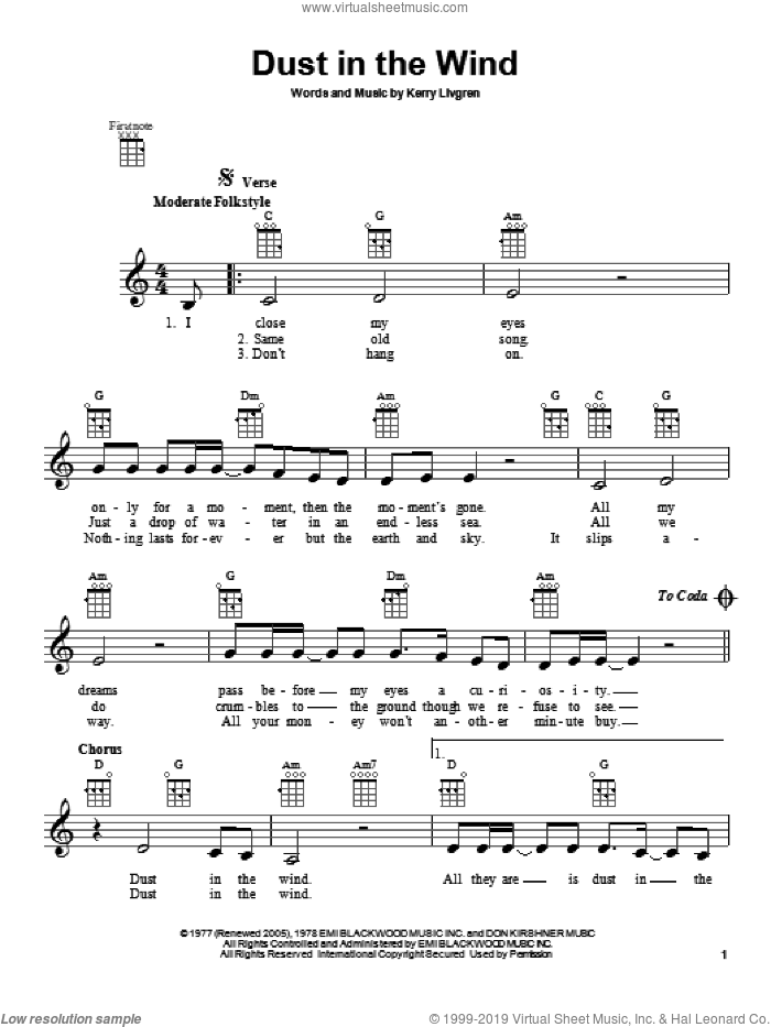 Dust In The Wind sheet music for ukulele by Kansas, intermediate skill level