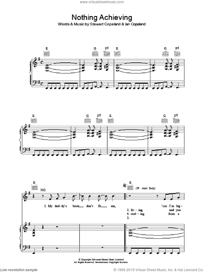 Nothing Achieving sheet music for voice, piano or guitar by The Police, intermediate. Score Image Preview.