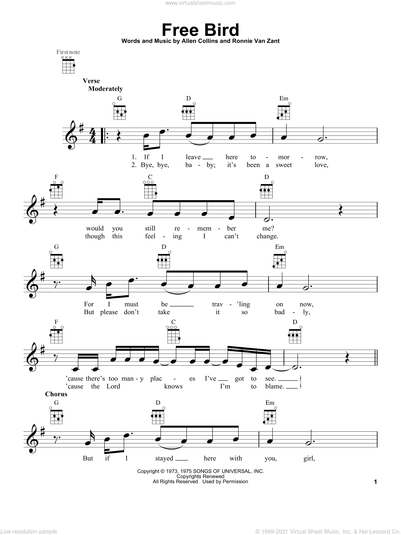Free Bird sheet music for ukulele by Lynyrd Skynyrd, intermediate skill level