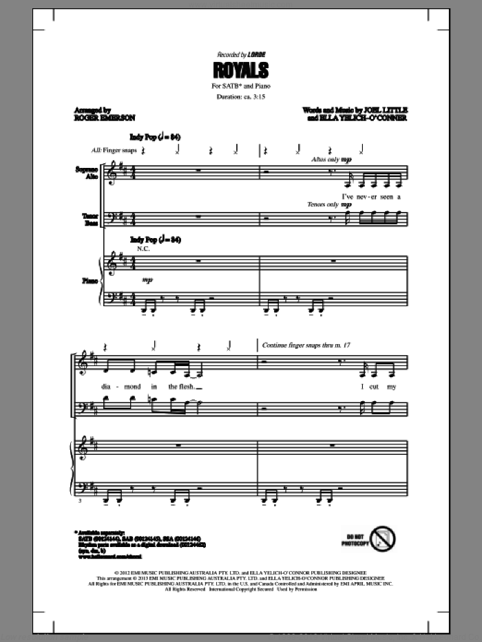 Royals sheet music for choir (SATB: soprano, alto, tenor, bass) by Roger Emerson and Lorde, intermediate. Score Image Preview.