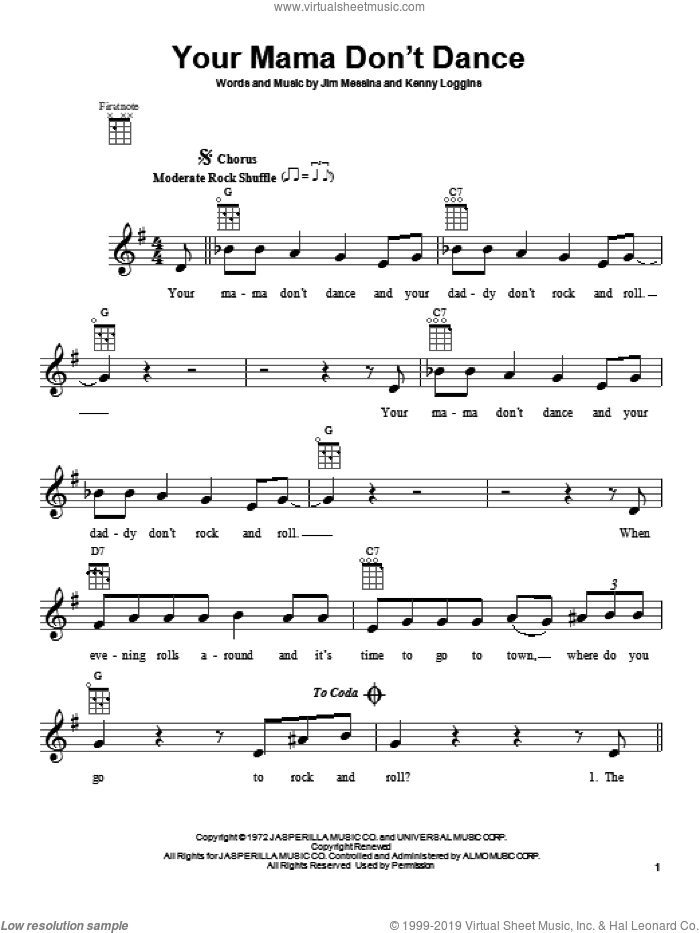 Your Mama Don't Dance sheet music for ukulele by Loggins And Messina, Dave Loggins and Jim Messina. Score Image Preview.
