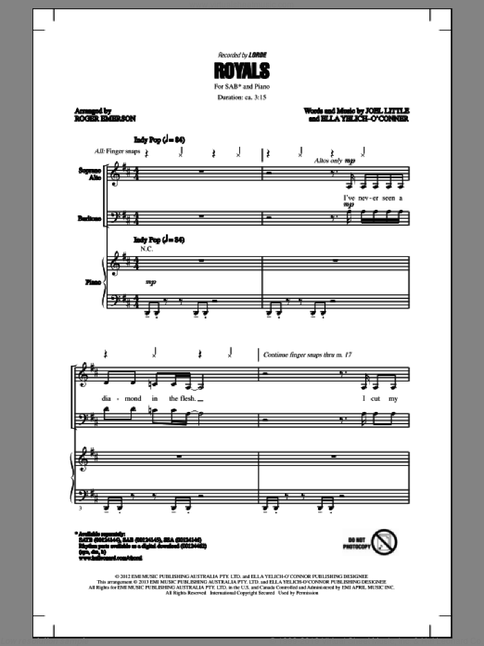 Royals sheet music for choir (SAB: soprano, alto, bass) by Roger Emerson and Lorde, intermediate