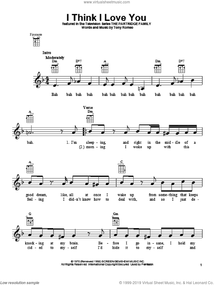 I Think I Love You sheet music for ukulele by The Partridge Family, intermediate skill level