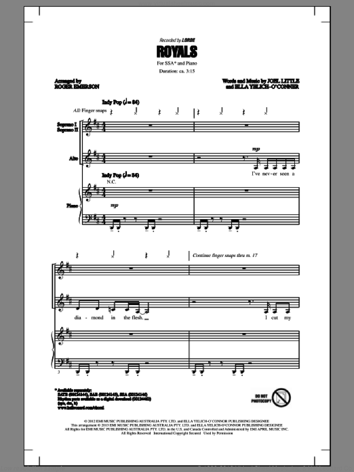 Royals sheet music for choir (soprano voice, alto voice, choir) by Roger Emerson and Lorde, intermediate choir (soprano voice, alto voice, choir). Score Image Preview.