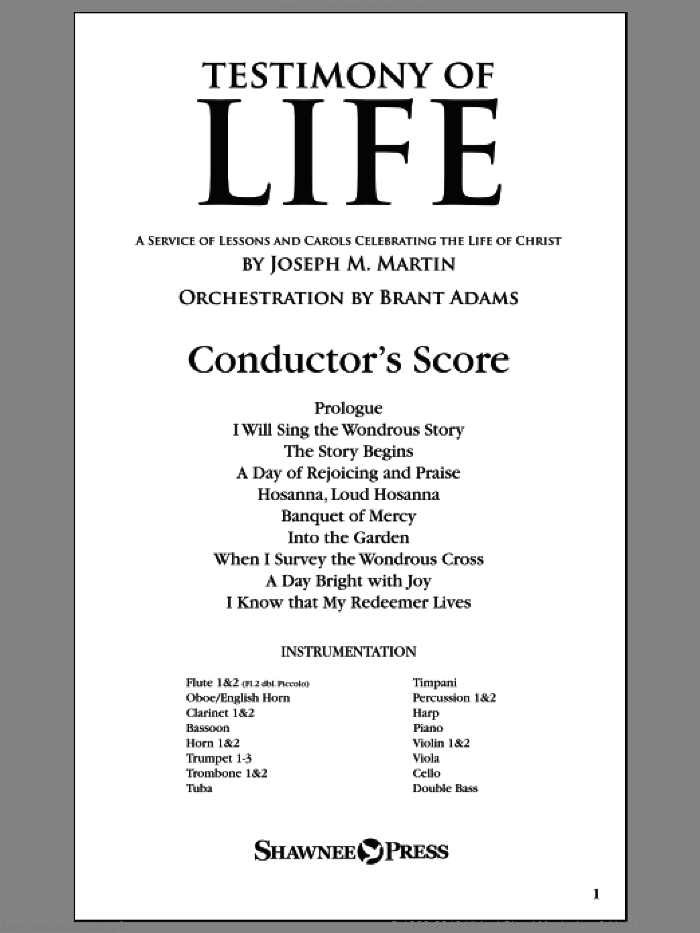 Testimony of Life sheet music for orchestra/band (score) by Joseph M. Martin