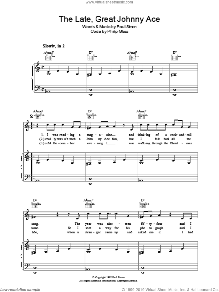 The Late Great Johnny Ace sheet music for voice, piano or guitar by Paul Simon and Philip Glass, intermediate