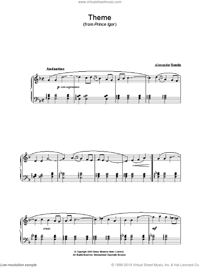 Theme From Prince Igor sheet music for piano solo by Alexander Borodin