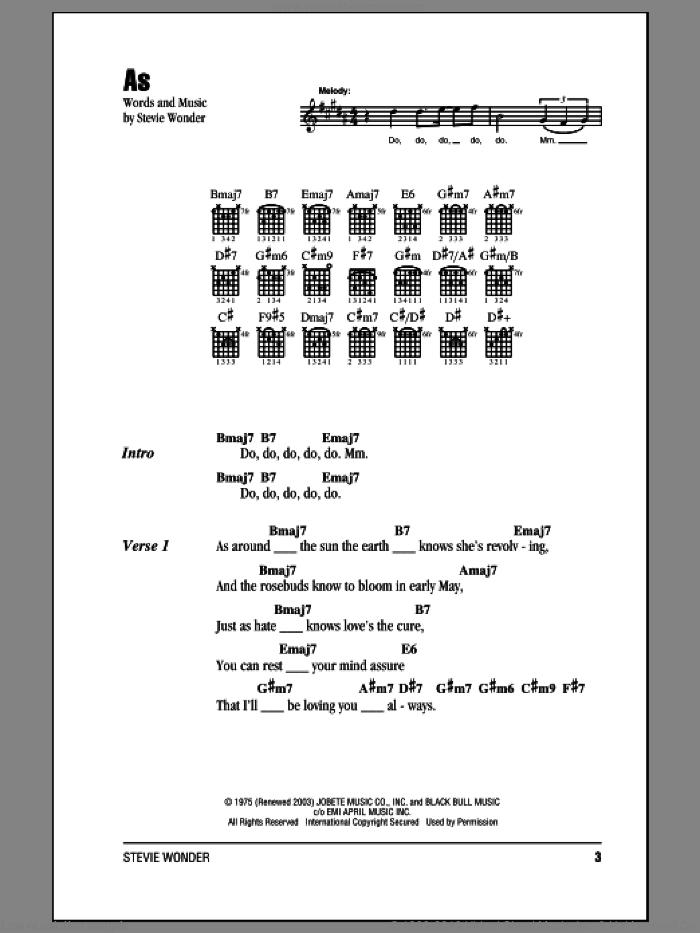Wonder As Sheet Music For Guitar Chords