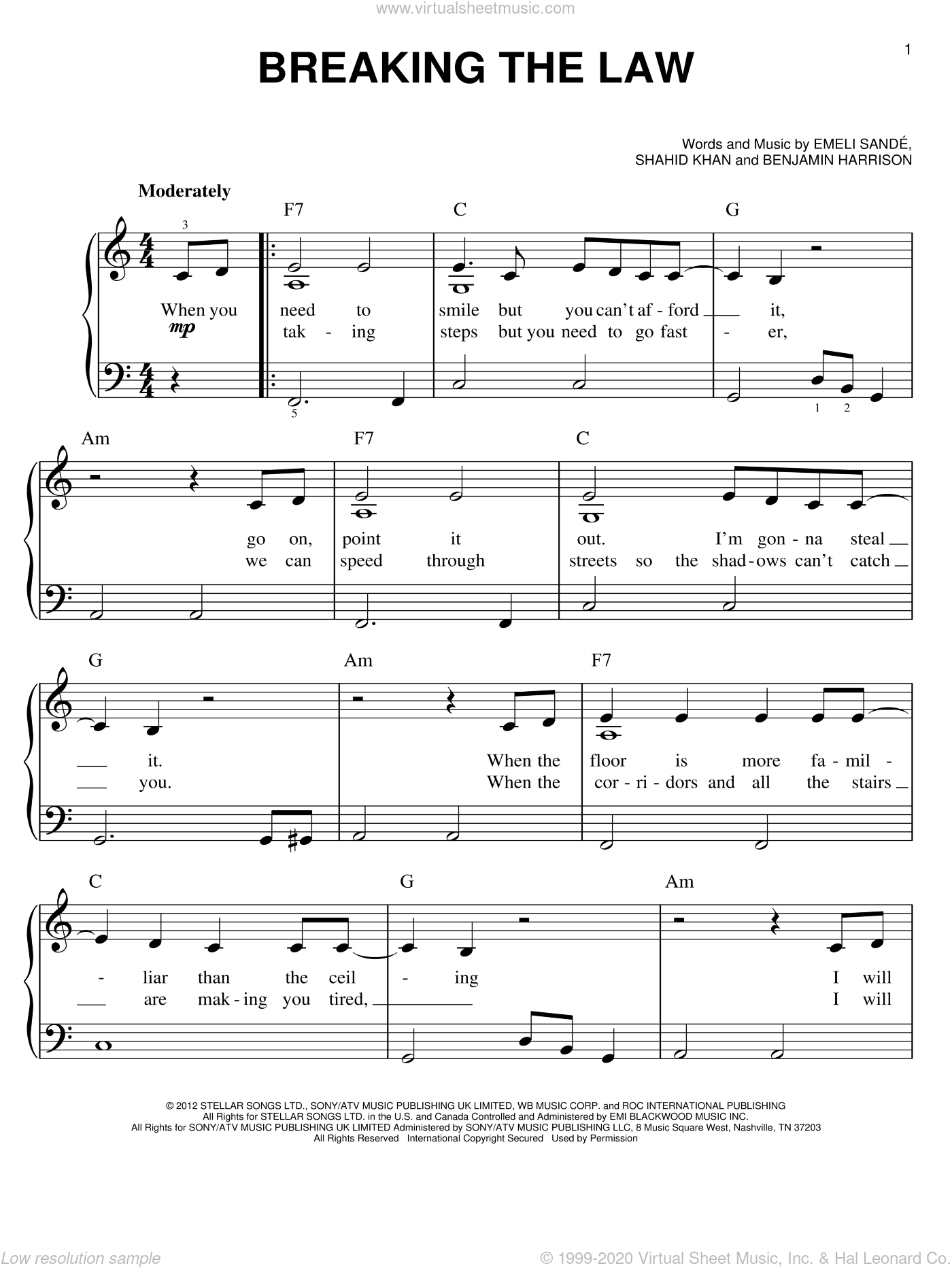 Breaking The Law sheet music for piano solo by Emeli Sande, easy skill level