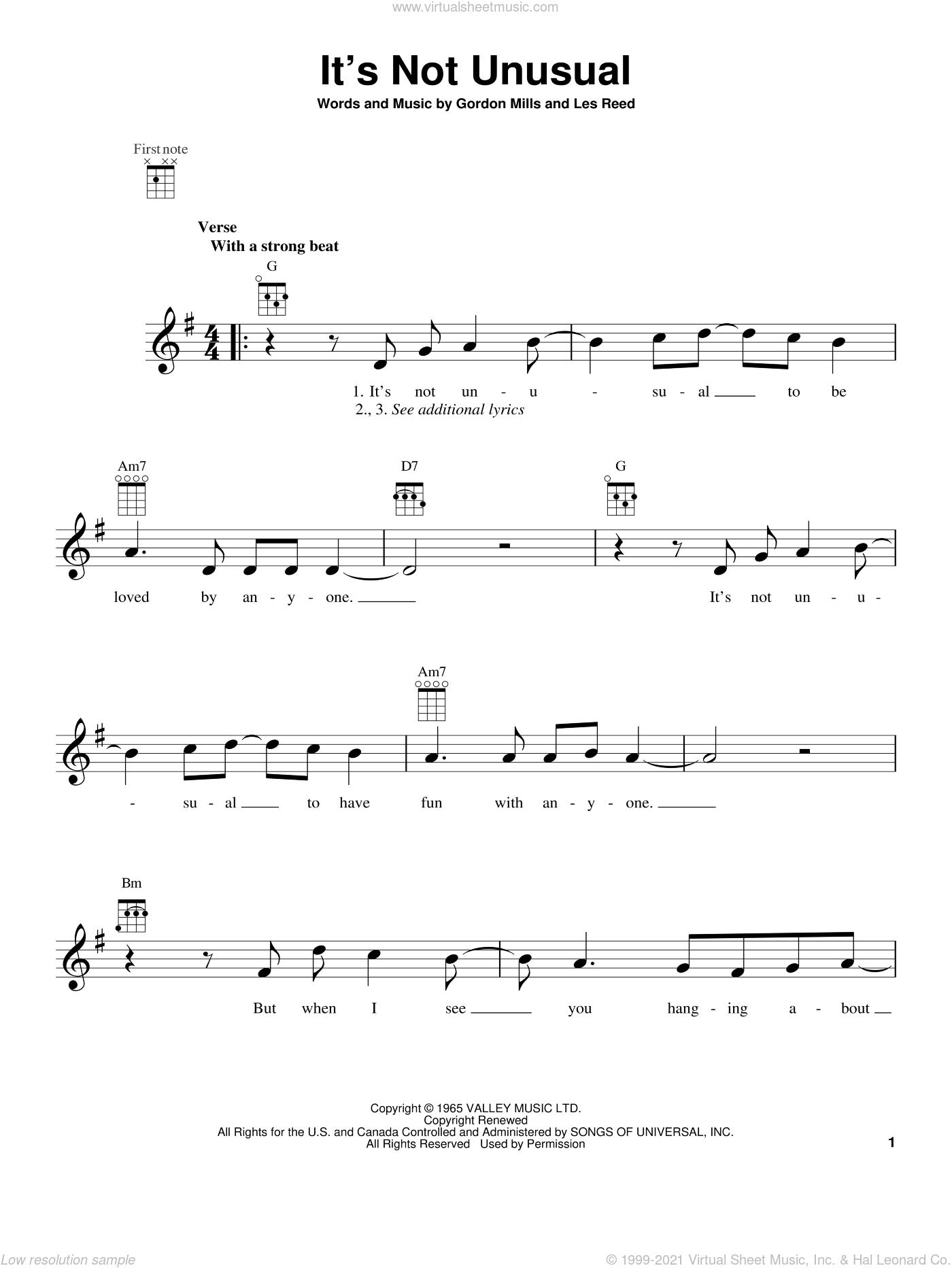 It's Not Unusual sheet music for ukulele by Tom Jones, intermediate skill level