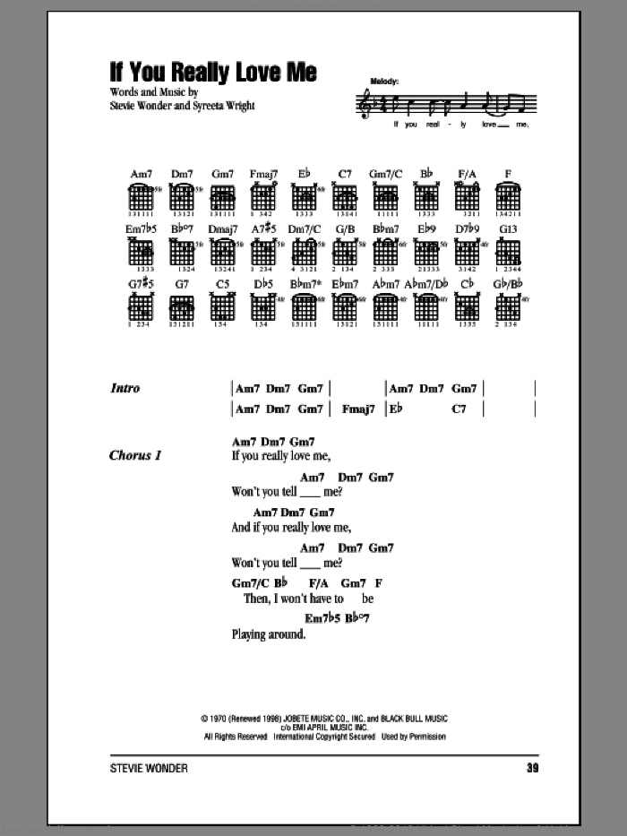 If You Really Love Me sheet music for guitar (chords) by Stevie Wonder, intermediate skill level