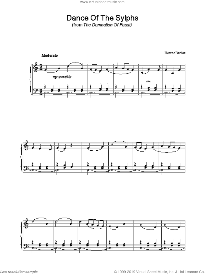 Dance Of The Sylphs (from The Damnation Of Faust) sheet music for piano solo by Hector Berlioz. Score Image Preview.