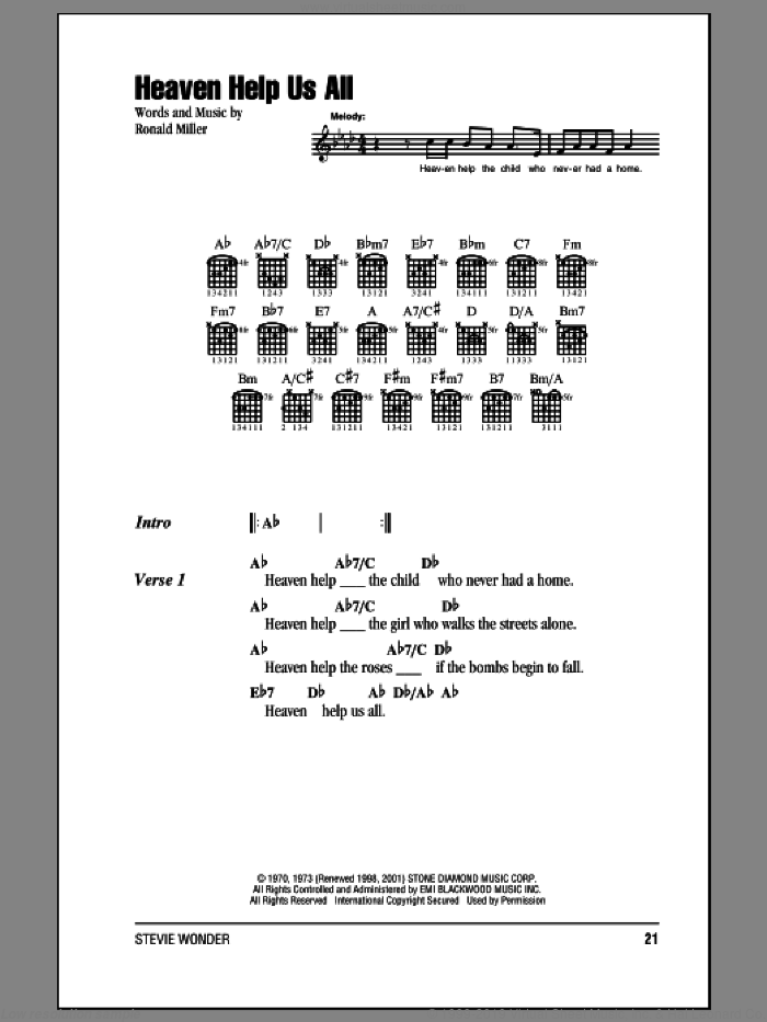 Heaven Help Us All sheet music for guitar (chords) by Stevie Wonder. Score Image Preview.