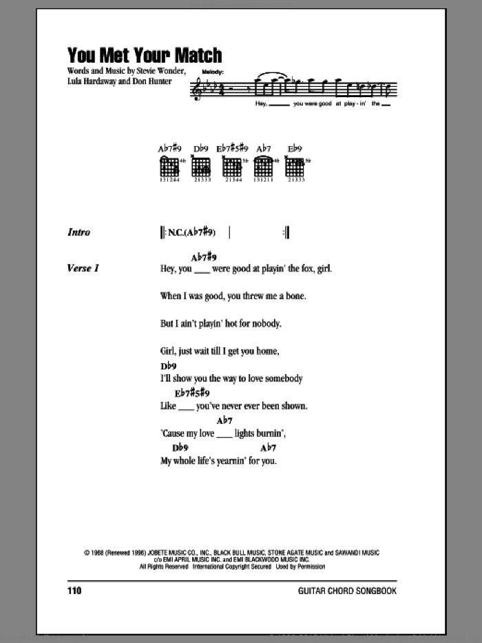 Wonder You Met Your Match Sheet Music For Guitar Chords Pdf