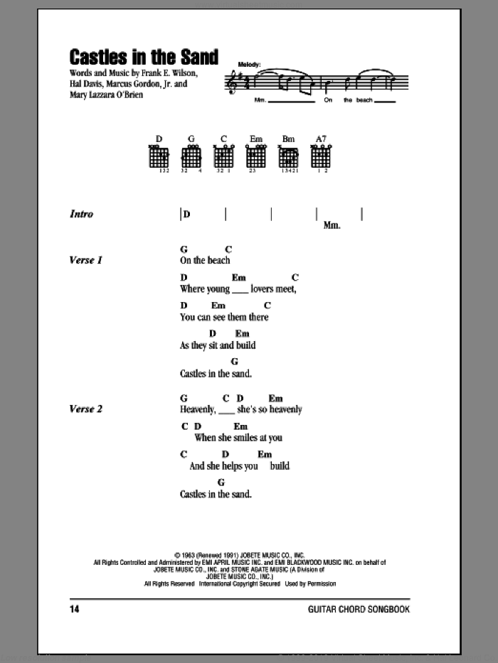 Castles In The Sand sheet music for guitar (chords) by Stevie Wonder. Score Image Preview.