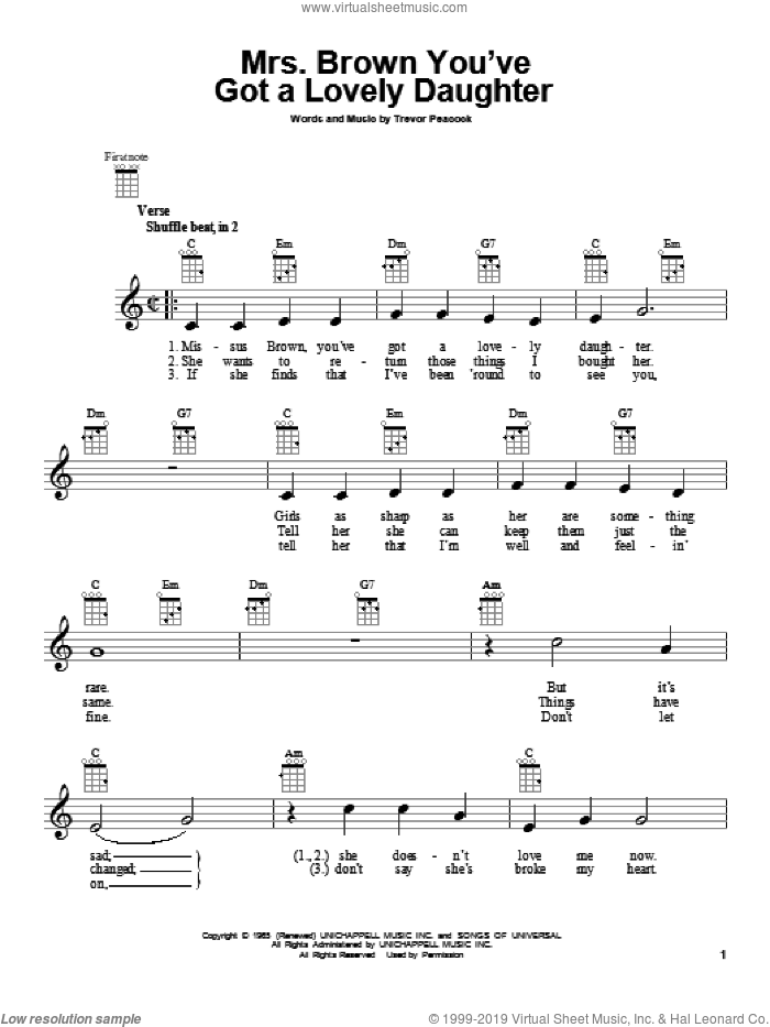 Mrs. Brown You've Got A Lovely Daughter sheet music for ukulele by Herman's Hermits, intermediate skill level