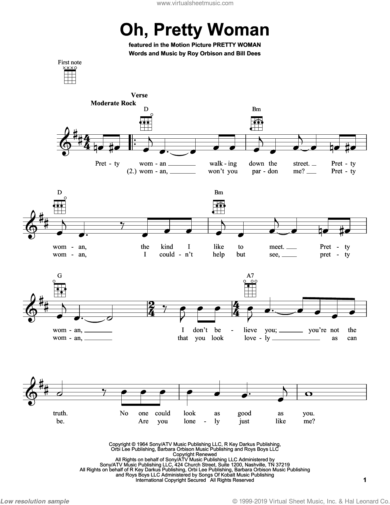 Oh, Pretty Woman sheet music for ukulele by Roy Orbison