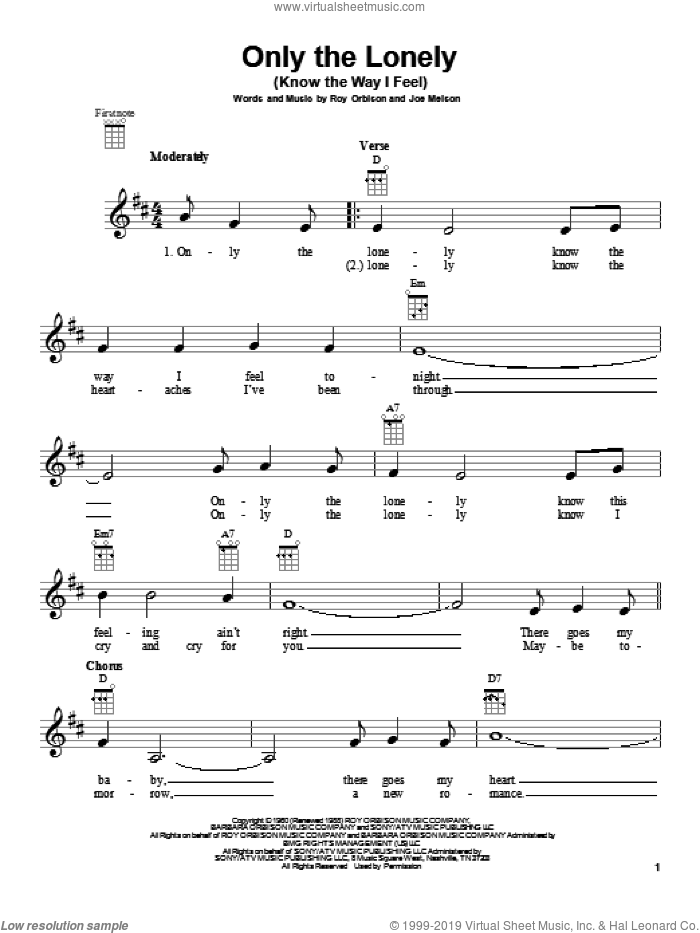 Only The Lonely (Know The Way I Feel) sheet music for ukulele by Roy Orbison. Score Image Preview.