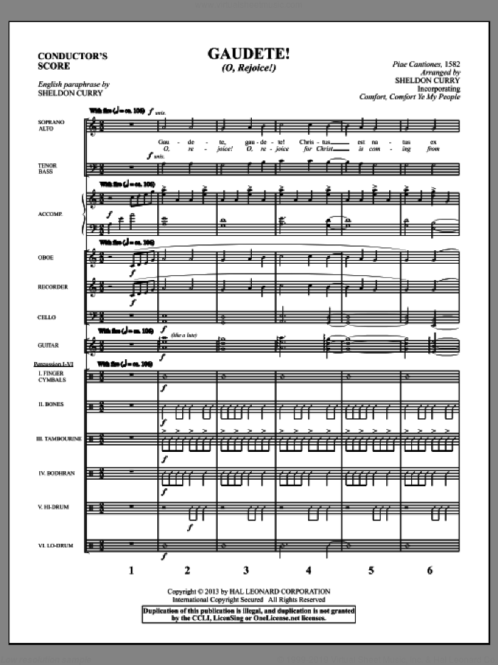 Gaudete! (O, Rejoice!) (COMPLETE) sheet music for orchestra/band by Sheldon Curry, intermediate