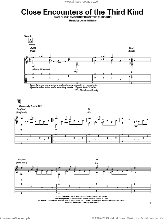 Theme From Close Encounters Of The Third Kind sheet music for guitar solo by John Williams. Score Image Preview.