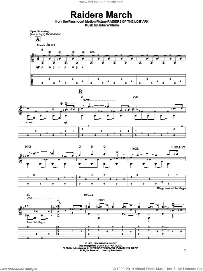 Raiders March sheet music for guitar solo by John Williams and Ben Woolman, classical score, intermediate skill level