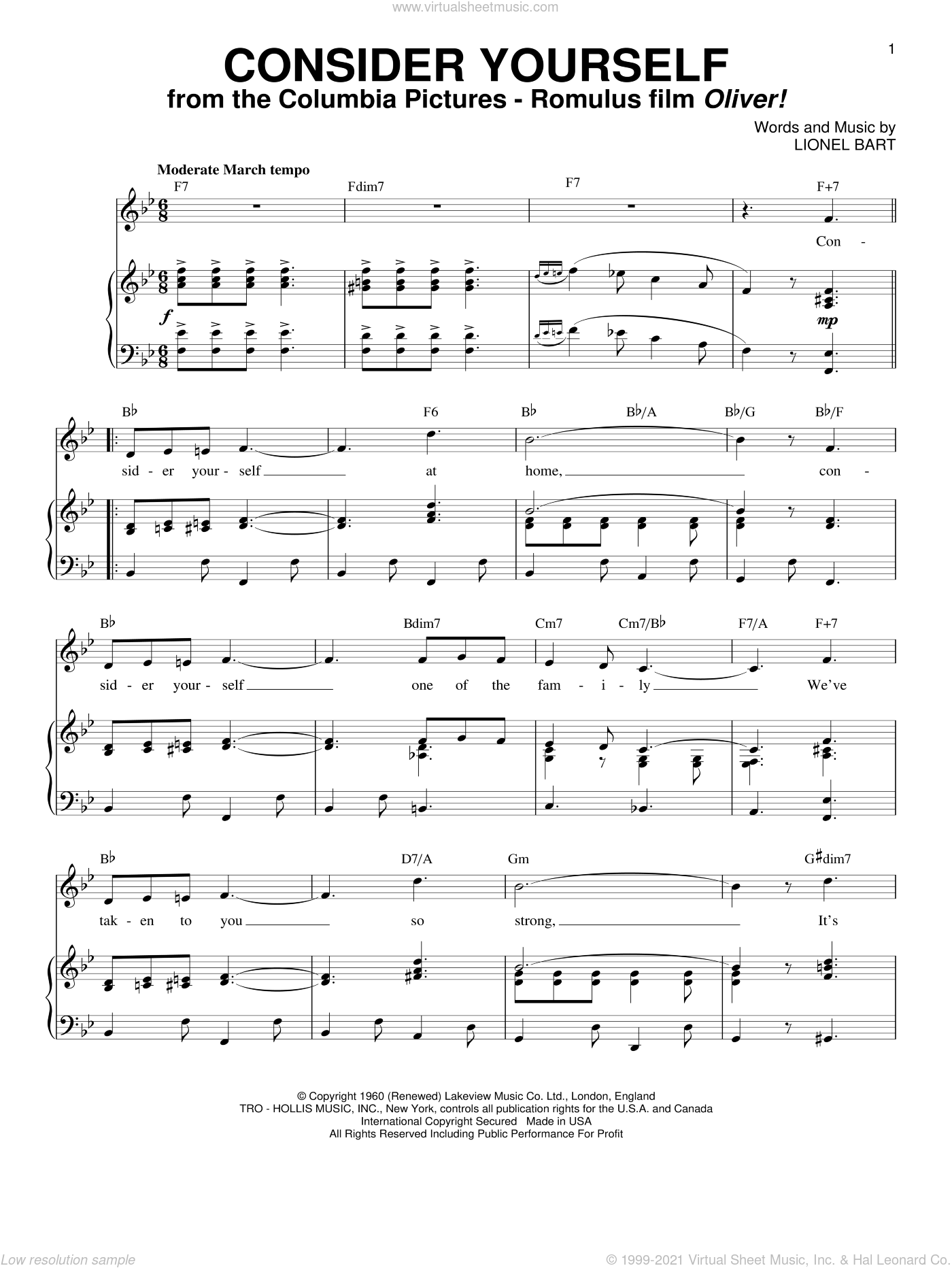 Consider Yourself sheet music for voice and piano by Lionel Bart, intermediate voice. Score Image Preview.