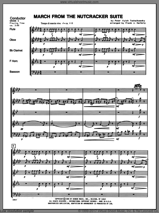 March From The Nutcracker Suite sheet music for wind quintet (full score) by Tschaikowsky