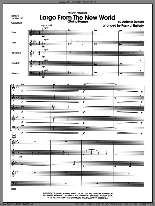 Largo From The New World (Going Home) (COMPLETE) sheet music for wind quintet by Antonin Dvorak