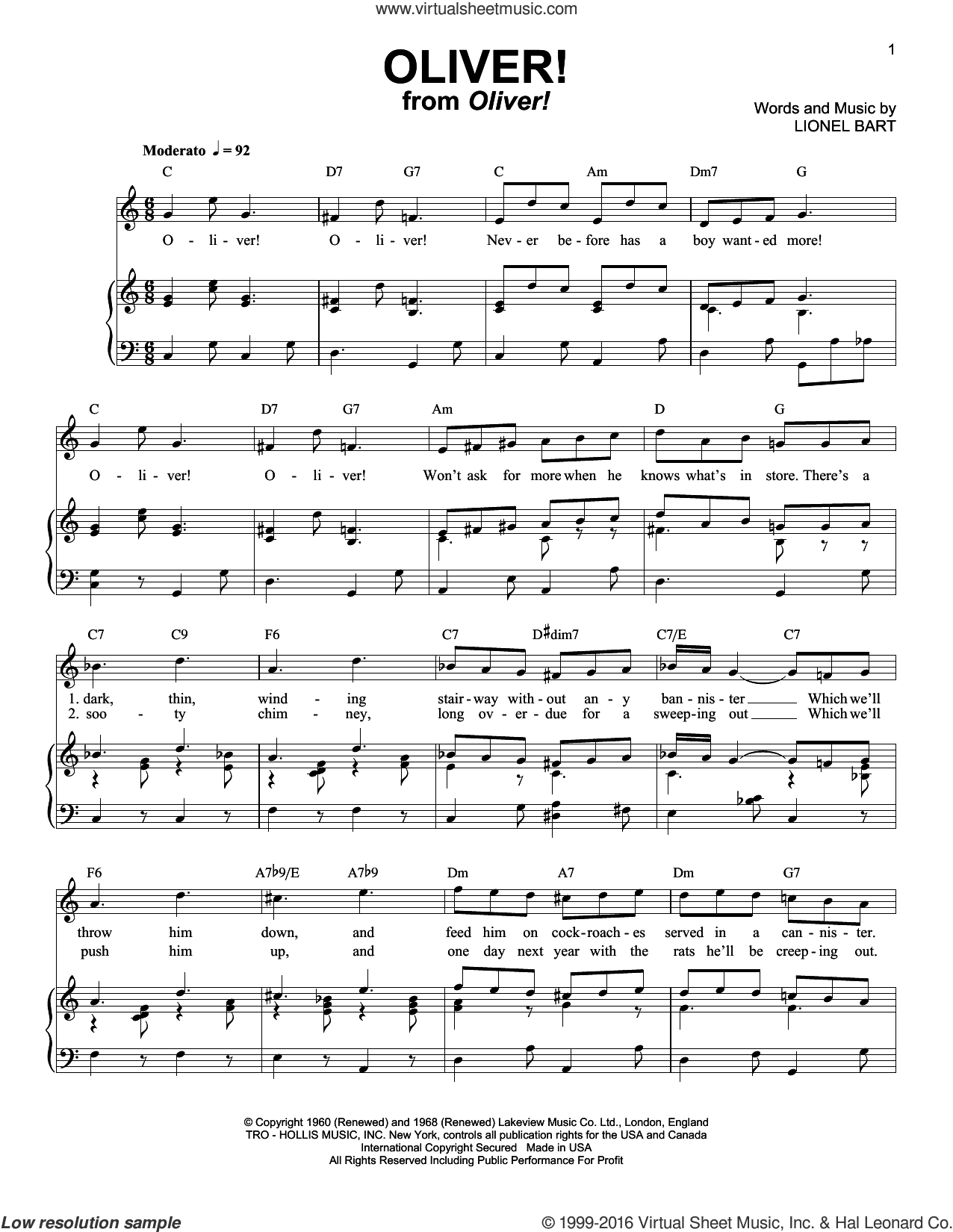 Oliver! sheet music for voice and piano by Lionel Bart and Oliver! (Musical), intermediate skill level