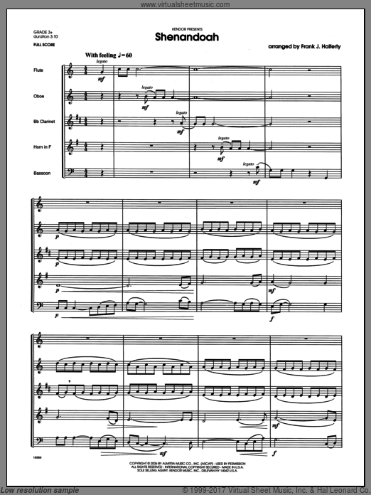 Shenandoah (COMPLETE) sheet music for wind quintet by Halferty