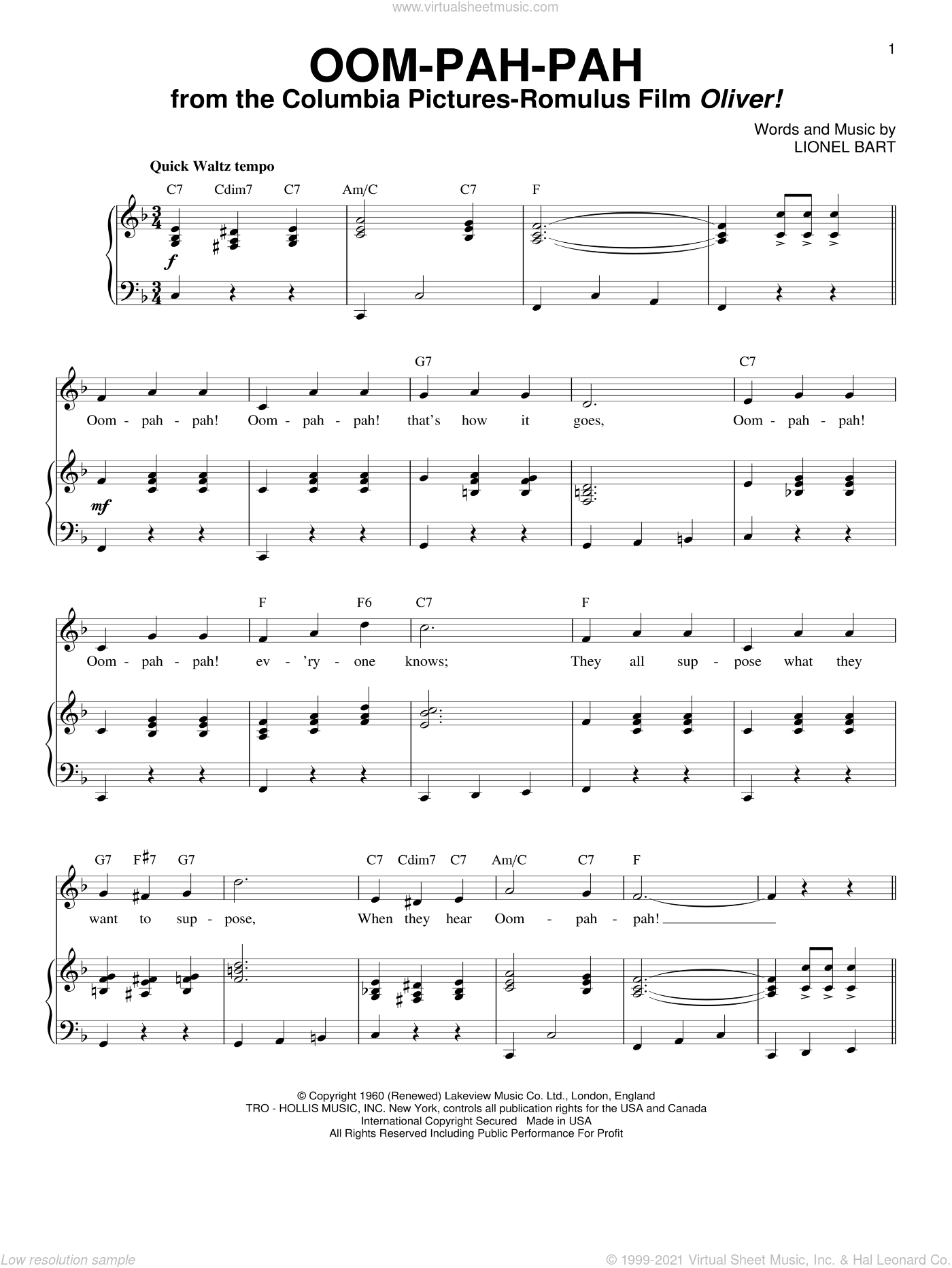 Oom-Pah-Pah sheet music for voice and piano by Lionel Bart. Score Image Preview.