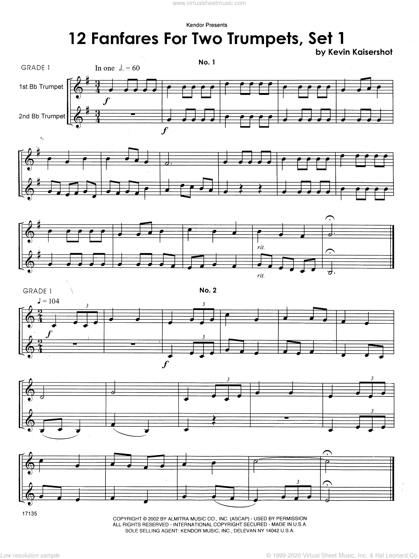 12 Fanfares For Two Trumpets, Set 1 sheet music for two trumpets by Kaisershot. Score Image Preview.