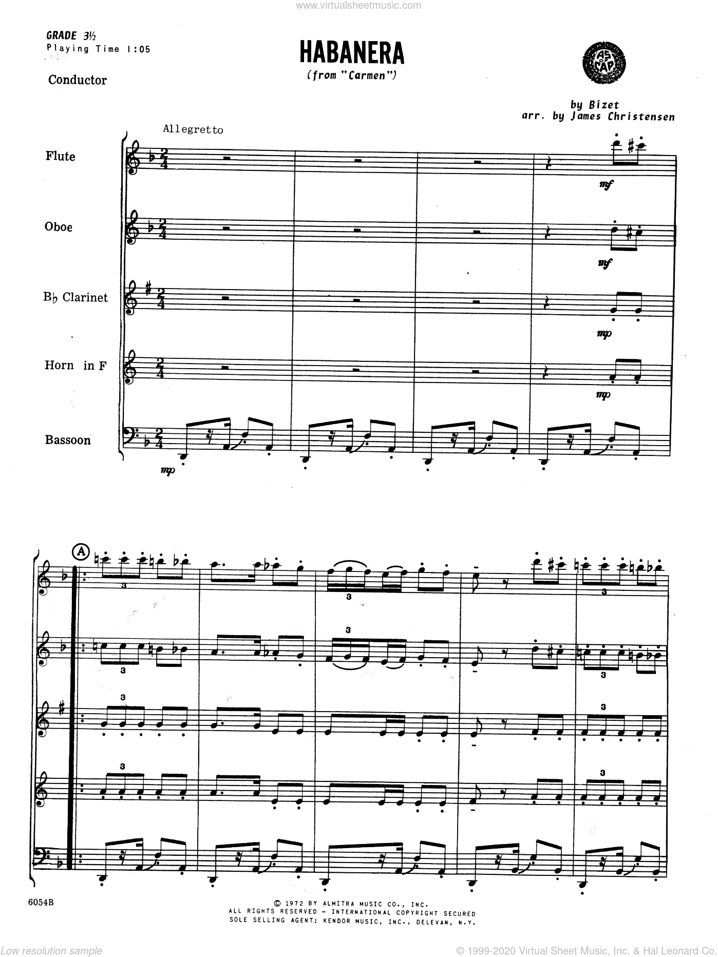 Habanera (from Carmen) sheet music for wind quintet (full score) by Georges Bizet