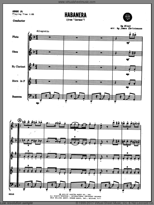 Habanera (from Carmen) (COMPLETE) sheet music for wind quintet by Georges Bizet