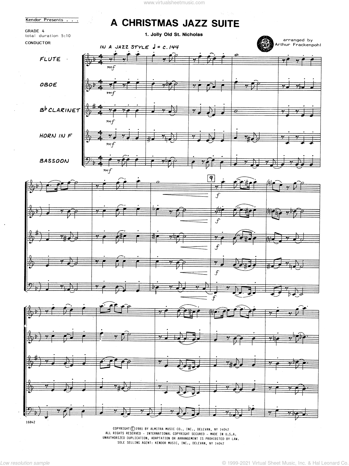 Christmas Jazz Suite, A sheet music for wind quintet (full score) by Arthur Frackenpohl