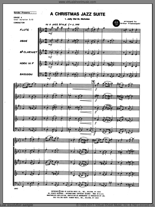 Christmas Jazz Suite, A (COMPLETE) sheet music for wind quintet by Arthur Frackenpohl