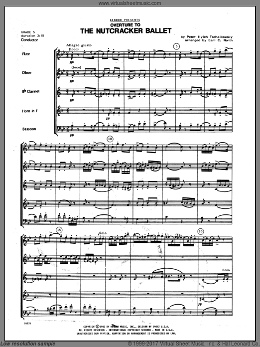 Overture To The Nutcracker Ballet sheet music for wind quintet (full score) by Tschaikowsky