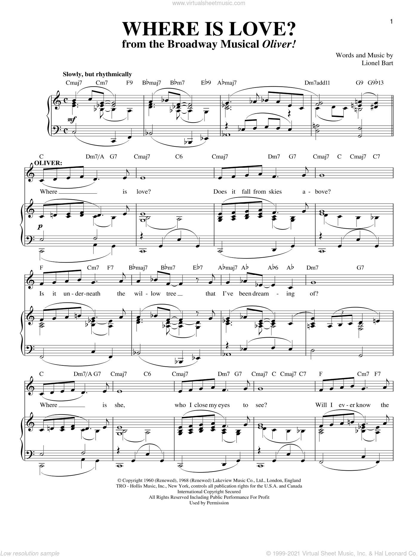 Where Is Love? sheet music for voice and piano by Lionel Bart and Oliver! (Musical), intermediate skill level