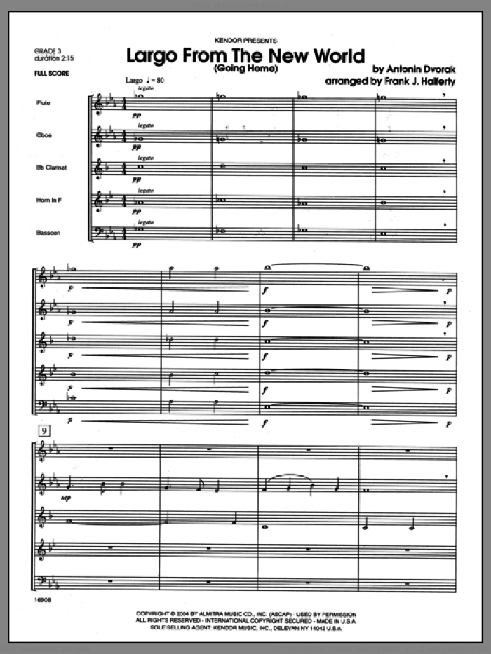 Largo From The New World (Going Home) (COMPLETE) sheet music for wind quintet by Antonin Dvorak and Halferty, classical score, intermediate wind quintet. Score Image Preview.