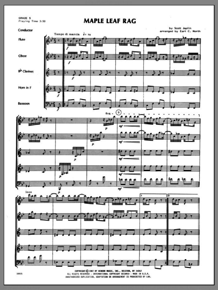 Maple Leaf Rag (COMPLETE) sheet music for wind quintet by Scott Joplin and North, intermediate. Score Image Preview.