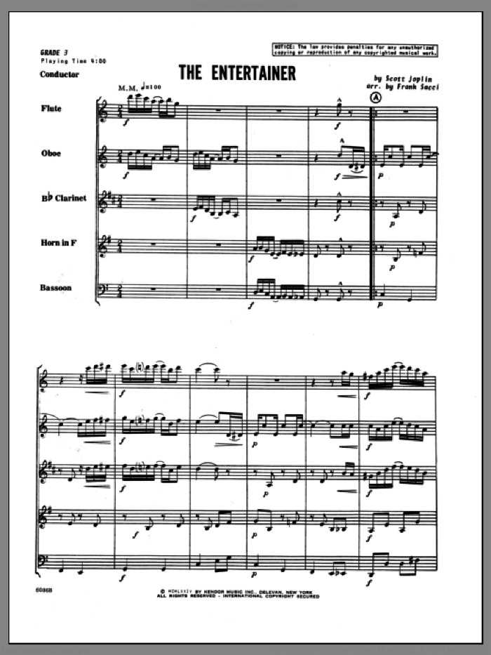 Entertainer, The (COMPLETE) sheet music for wind quintet by Scott Joplin and Sacci, intermediate. Score Image Preview.