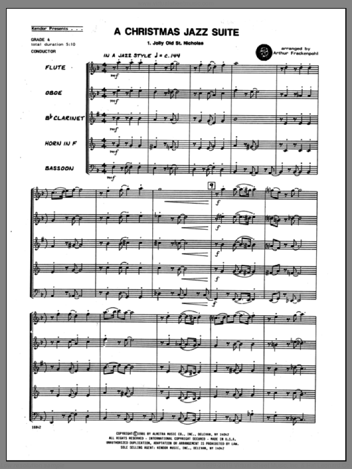 Christmas Jazz Suite, A (COMPLETE) sheet music for wind quintet by Arthur Frackenpohl, intermediate skill level