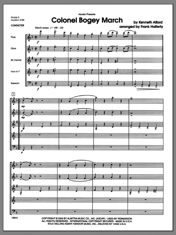 Colonel Bogey March (COMPLETE) sheet music for wind quintet by Alford and Frank J. Halferty, intermediate skill level