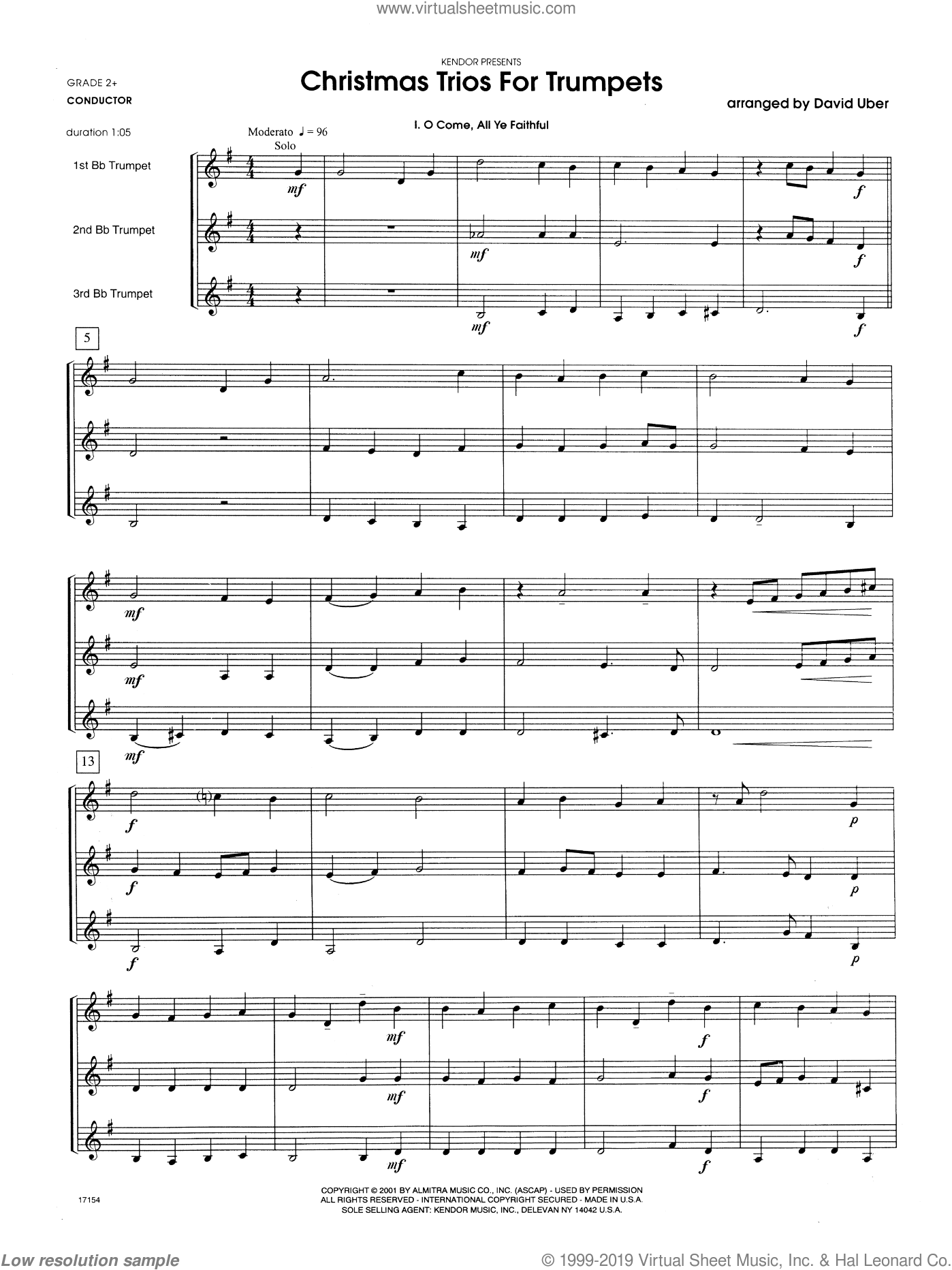Christmas Trios For Trumpets sheet music for trumpet trio (full score) by Uber