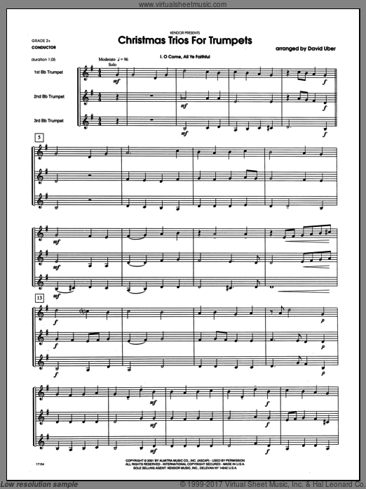 Christmas Trios For Trumpets (COMPLETE) sheet music for trumpet trio by Uber