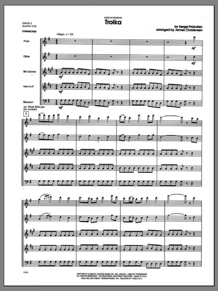 Troika sheet music for wind quintet (full score) by Christensen