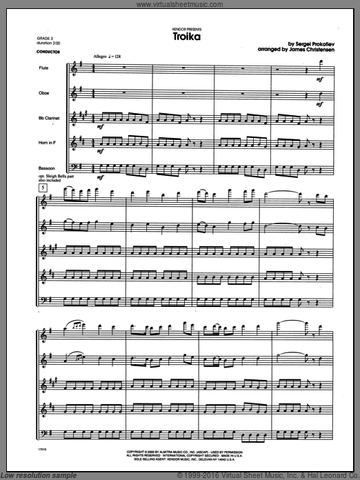 Troika (COMPLETE) sheet music for wind quintet by Christensen