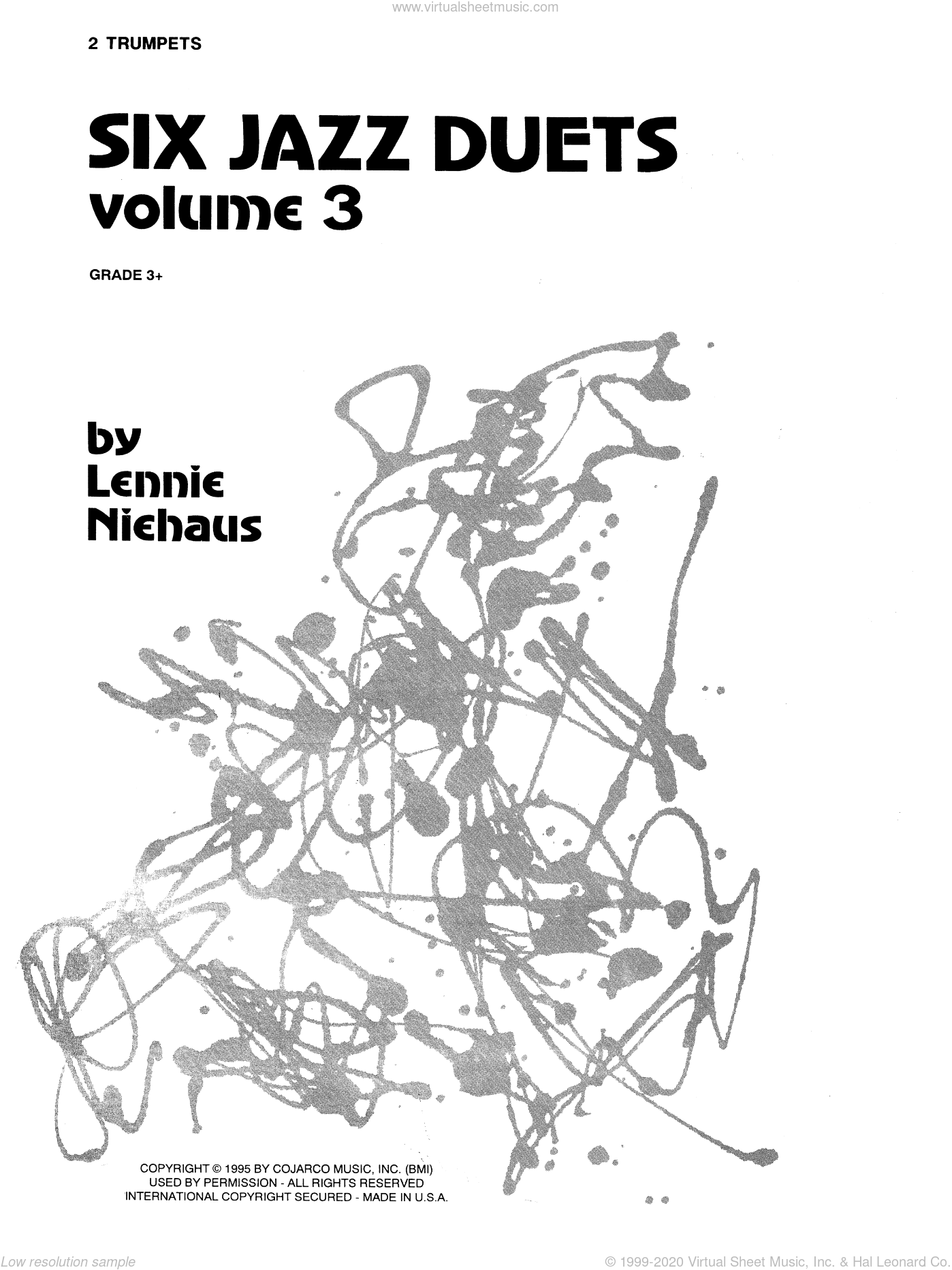 Six Jazz Duets, Volume 3 sheet music for two trumpets by Lennie Niehaus. Score Image Preview.