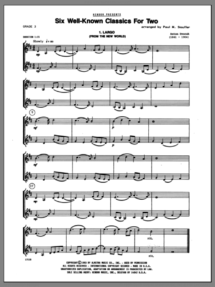 Six Well-Known Classics For Two sheet music for two violins by Stouffer. Score Image Preview.