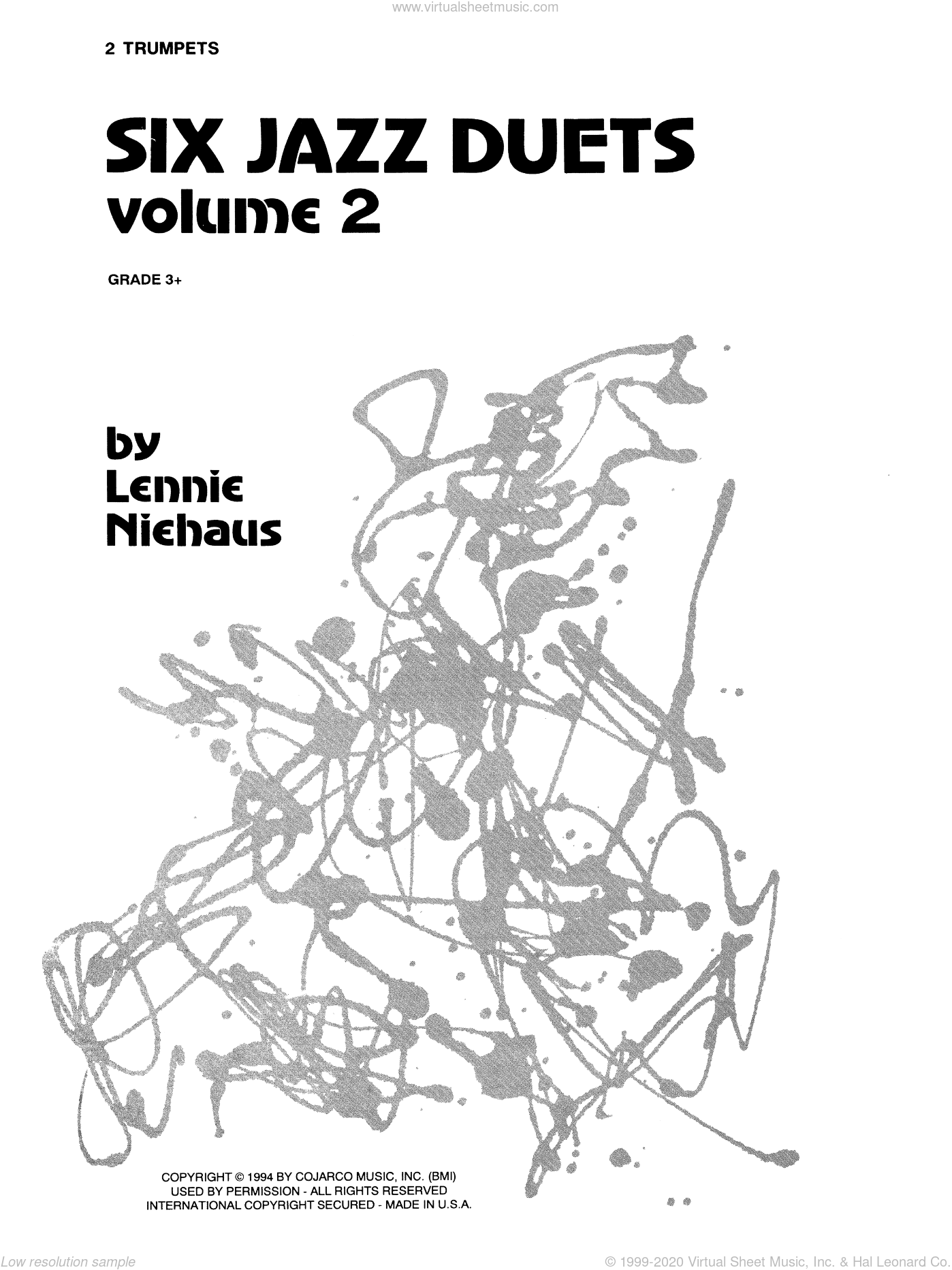 Six Jazz Duets, Volume 2 sheet music for two trumpets by Lennie Niehaus. Score Image Preview.